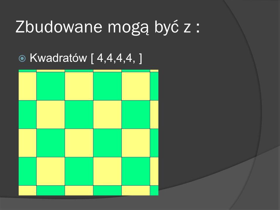 Zbudowane mogą być z : Kwadratów [ 4,4,4,4, ]